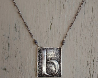 "ARTisan Made ""Poetic"" Initial Pendant Necklace - Lowercase Letters b, d, g, h, k, m, p, q, w, y - Sterling Silver - OOAK"