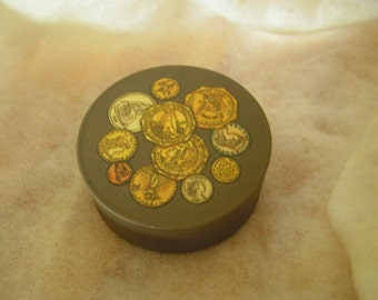 vintage tin with coins pictured on top by Potpourri Press made in the USA