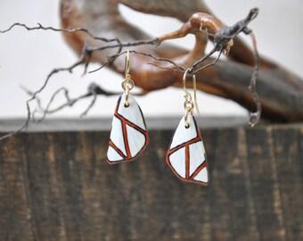 Clara Satin Moth Wings Earrings - Carved Walnut Hardwood & Hand Painted - 14 Karat Gold Filled Findings