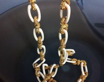 NECKLACE :  Long White / Gold  Big Links Chain Necklace. Lobster clasp