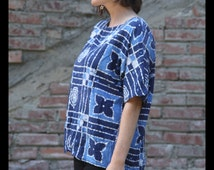 Unisex ABSTRACT Batik Wax Resist Paper Thin HIPPIE Shirt, Large