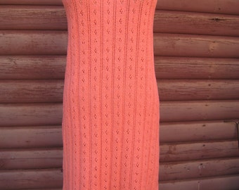 Amazing Form Fitting Coral Knit Sleeveless Dress from Picardo Knits Excellent Condition