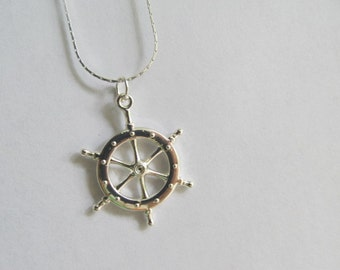 Silver Pirate Wheel Necklace