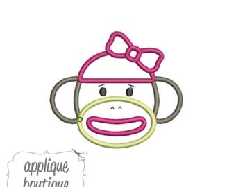 INSTANT DOWNLOAD, Machine Applique Design, Sock Monkey with Bow