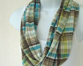 Jersey Infinity Scarf PlaidTurquoise, Brown, Lime and White with Gold Rayon Jersey Knit Eternity Scarf SIngle Loop