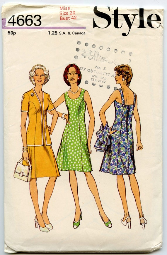 1970s Vintage Sewing Pattern Style 4663 Misses Womens Cardigan and Dress Bust 42 UNCUT