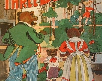 Antique Child's Book, The Three Bears, Beautiful, 1912
