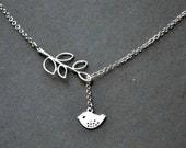Black Friday sale  Silver Bird Necklace Sparrow Necklace Bird Lariat Silver Branch Jewelry Bird Jewelry pendant beadwork strand statement