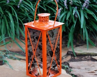 Halloween Orange Candle Lantern with Clear and Black Stained Glass