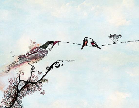 Art des oiseaux, oiseaux sur un fil et art de l'encre, stylo, illustration oiseau, bleu clair