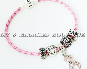 Pink Ribbon Bracelet Breast Cancer Awareness European Style Charm Braided Leather Survivor Bead Silver Love Mothers Day Christmas Gift