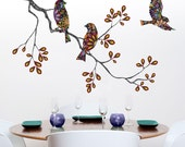 Birds on Tree Branch Graphic - Wall Decals Wall Stickers - Floral Multicolor Design