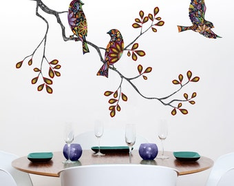Tree Branch Decal and Bird Wall Decals