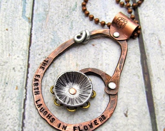 Mixed Metal Necklace - Hand Stamped Jewelry -  Inspirational Quote with Cold Connections Riveted - The Earth Laughs In Flowers (104)