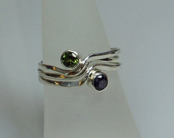 Silver Stacking Rings, Birthstone Jewelry, Curve Wave Ring, Tube setting, Design your own Set, Mothers Ring