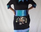 Upcycled Tshirt Lucky Wolf Dress Blues Womens Size Large Tunic Dress Corset Waist