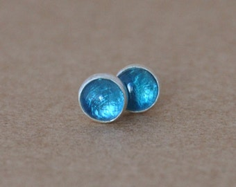 Swiss blue Topaz Earrings with Sterling Silver Studs. 4mm Cabochon Gemstones