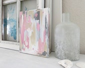 SEASHELL  Abstract Original Painting In Pinks,Whites,Greys,Beige 8 x 10 Acrylic On Archival Canvas Coastal Beach Home Decor