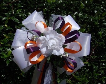 10 WHITE Dark PURPLE ORANGE Rose Pew Bows Wedding Decorations Bridal