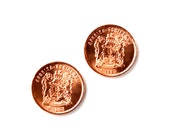 South Africa Coin Cufflinks - Men's Jewelry - Handmade - Gift Box Included