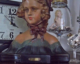 """Vintage Bust, French Figurine, French Bust, Statuette, the literary character, """"Cosette"""" from Victor Hugo's Les Miserables"""