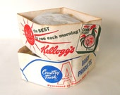 Paperlynen Pal-Kaps Kelloggs Corn Flakes Cereal Country Fresh Dairy Paper Hats Vintage 1960s Factory Tour