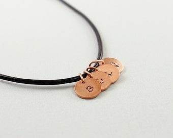 Four initial necklace for men, personalized mens necklace, family jewelry, copper monograms