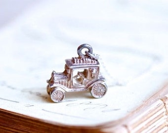 Car Necklace - Sterling Silver Miniature Antique Automobile Pendant on Chain