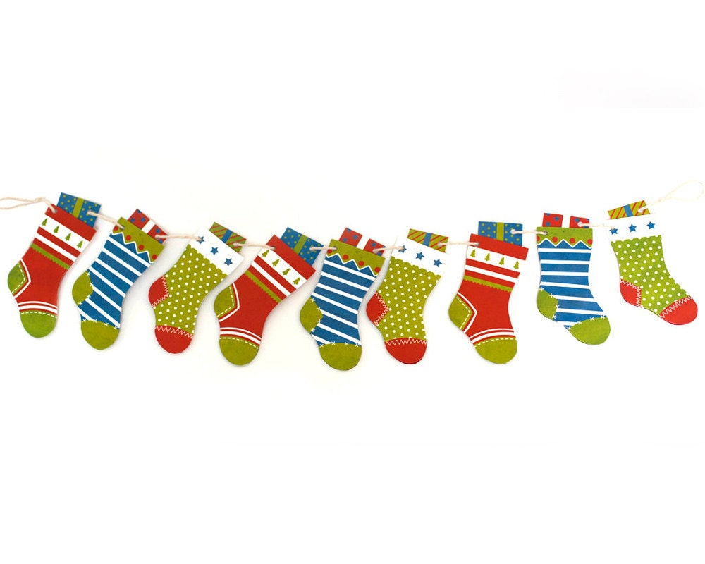 D retro christmas stockings decoration garland by
