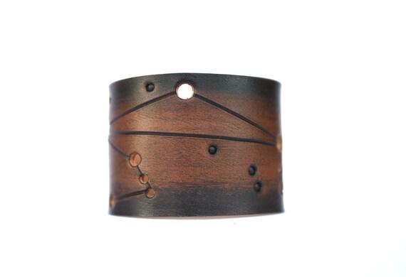 Leather cuff Libra zodiac sign