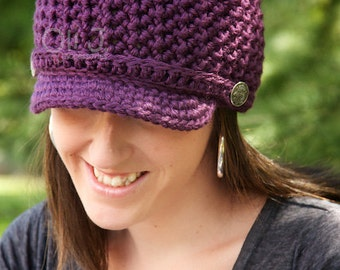 READY TO SHIP Women's Brimmed Beanie - Purple