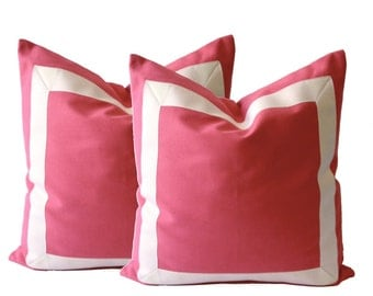 Coral Pink Cotton Canvas Decorative Throw Pillow Cover with Off White Grosgrain Ribbon Border - Cushion Covers