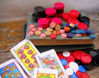 Vintage Lot of Game Pieces and Flashcards -120 Pieces for Craft/Upcycle