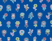 1/2 yard LAMINATED cotton fabric remnant (18 x 40) Flowerpop lake blue (aka oil cloth vinyl coated fabric) McMorris Summersault BPA free