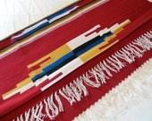 4 x 6 Serape Wool Rug Southwestern Weaving 4 x 6 BRIGHT Colorful Chimayo Rug from The Back Part of the Basement