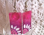 Glass Earrings, Ombre Pink & Purple Earrings with Sunflowers, Hand Painted Glass Jewelry, Silver Plated Ear Wires