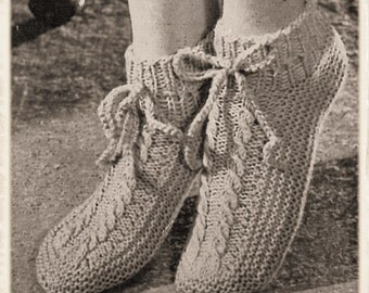 Instant Download PDF Fourties Knitting Pattern to make Cosy Womens Bedsocks Slipper Socks Bootees with Ankle Tie Foot Size UK 5 to 6