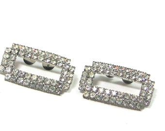 Rhinestone Shoe Clips 1950s Vintage Bride Wedding Formal Black Tie