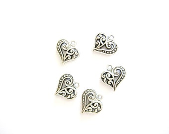 5 Double Sided Heart Charms