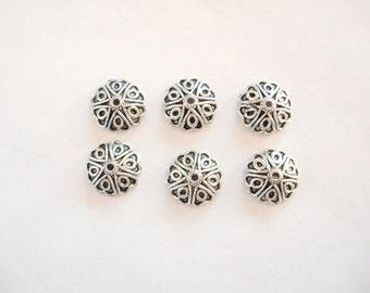 12 mm bead caps, 6 Lead Free Pewter bead caps 12 mm
