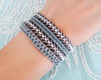 Chain Wrap Bracelet with Macrame and a Button Clasp
