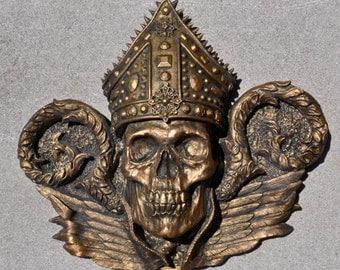 Bishop Thanatos Wall Plaque, Bronze Finish