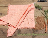Linen Kitchen Dish Towel in Orange Gingham. 100% Natural Linen with Rustic edges.