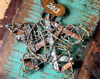Personalized Our First Christmas Ornament  Rustic Wedding Decor Twig and Rusty Tin Star Custom
