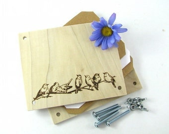 Flower Press - Wood Pyrography - Birds Plant Press