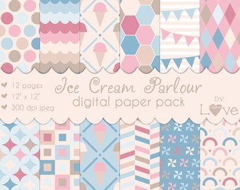 Ice Cream Shoppe Digital Paper Pack 12 Pieces Instant Download - Pink Blue Brown Beige Pastel