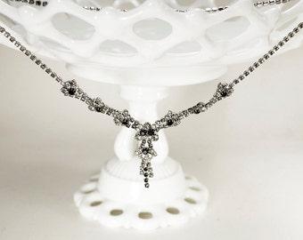 Vintage Black Crystal Necklace, Black, Bridal Necklace, Bridesmaid Gift, Art Deco Great Gatsby Necklace, Crystal Necklace, Halloween Bride