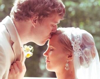 White Cap Veil, Ivory Lace Cap Veil, Lace Flower Cap Veil, Vintage Veil, 1920 wedding veil, Tulle Veil, Juliet Veil, The Jessica Design