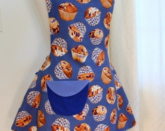 Womens Blueberry Muffins Apron, Womens Swing Apron in Blueberry Print