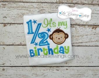 half birthday - bodysuit - boy birthday - 6 month birthday - monkey theme